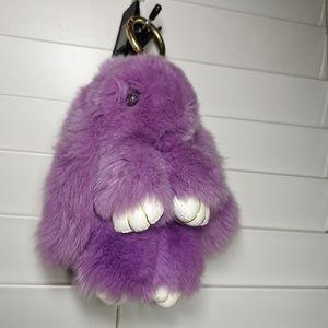 Fluffy Rex Rabbit Fur Keychain